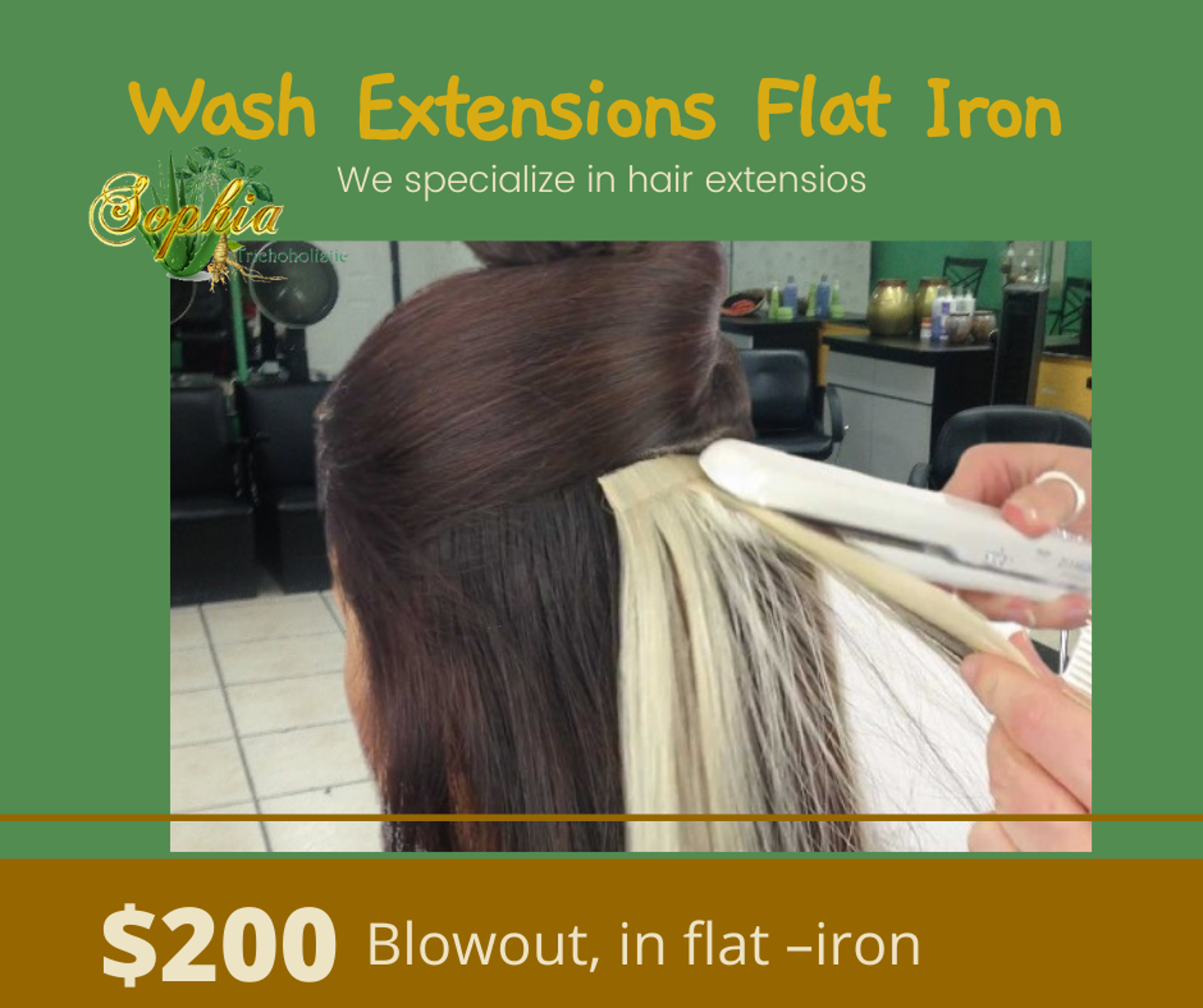 wash extensions and flat iron